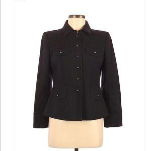 Ann Taylor LOFT Black Military Style Blazer Sz 4